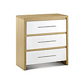 Stockholm Light Oak Finish & White Gloss 3 Drawer Chest