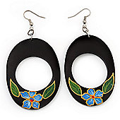 Dark Brown Wood Oval Hoop With Blue Flower Earrings (Silver Tone Metal) - 8cm Drop