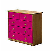 Verona Drawer Chest 3 + 2 Colour Antique and Fuchsia