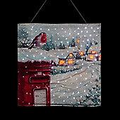 Christmas Robin Illuminated Wall Hanging Tapestry