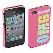 Trendz Hard Clip-On Case for iPhone 4/4S - Pink with OMG Design