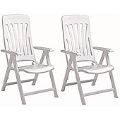 Resol Blanes Folding Multi-Position Garden Armchair - White Plastic - x2