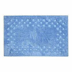 Homescapes Cotton Check Border Blue Bathmat