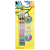 Spongebob Pencil And Eraser Set