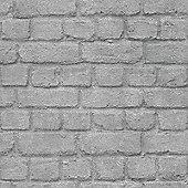 Rasch Silver Brick Effect Wallpaper (226751)