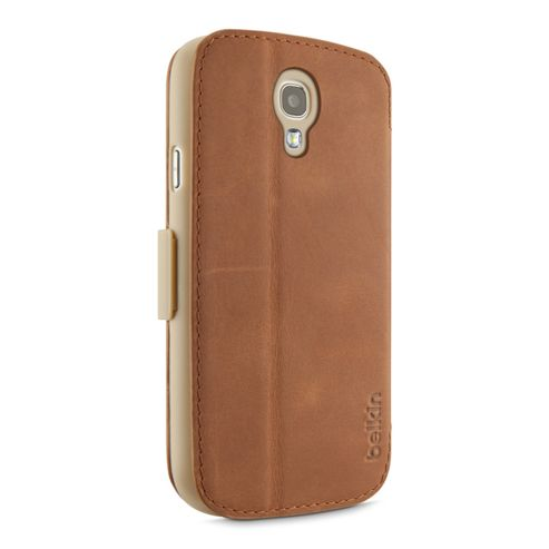 Belkin Premium Leather Folio with stand function and card slots for Samsung S4 in Tan