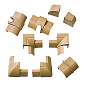 22 x 22mm Wood Fibre 1/4 Sphere Cable Trunking Accessory Pack
