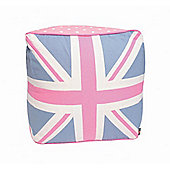 Woven Magic Union Jack Pink Duck Pouffe