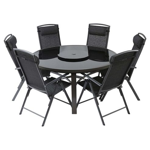 Valencia 150cm Glass Table & 6-seat Reclining Garden Furniture Set, Black