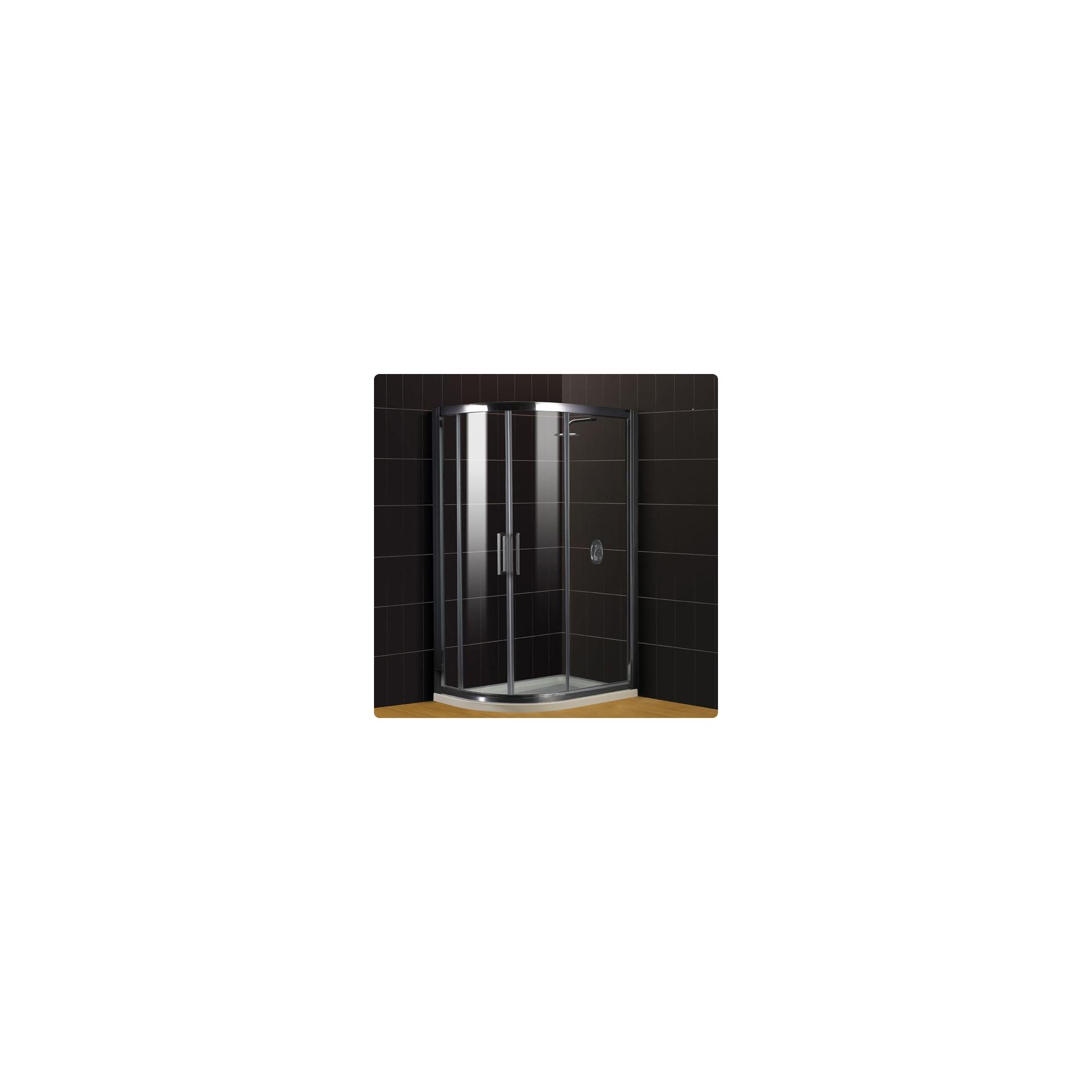 Duchy Supreme Silver Offset Quadrant Shower Enclosure (Complete with Tray) 900mm x 760mm, 8mm Glass at Tesco Direct