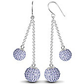 Jewelco London Sterling Silver Crystal 8mm & 10mm Double Disco Drops Shamballa Earrings - lilac
