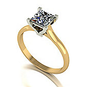 18ct Gold 5.5mm Square Brilliant Single Stone Moissanite Ring