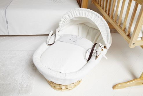 Clair de lune Stardust Natural Wicker Moses Basket - White
