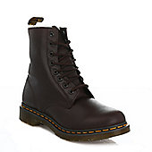 Dr. Martens Serena Womens Dark BrownLeather Faux Fur Shearling Ankle Boots - Brown