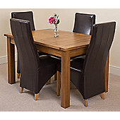 Cotswold Rustic Solid Oak Extending 132 - 198 cm Dining Table with 4 Brown Lola Leather Chairs