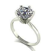18ct Gold 8.5mm White Gold Moissanite Single Stone Ring
