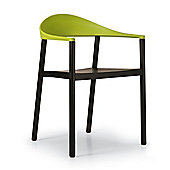 Plank Monza Armchair with Yellow Green Back Rest - Ash Black