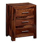 Indian Hub Cube Sheesham 3 Drawer Bedside Table