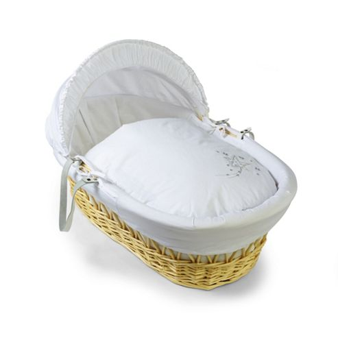 Clair de lune Starburst Natural Wicker Moses Basket - White