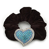 Rhodium Plated Swarovski Crystal Classic 'Heart' Pony Tail Black Hair Scrunchie - Clear/ Azure/ Light Blue