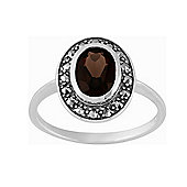 Gemondo Sterling Silver 1.12ct Smokey Quartz & Marcasite Cluster Ring