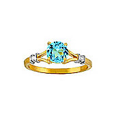 QP Jewellers Diamond & Blue Topaz Aspire Ring in 14K Gold