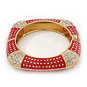Statement Square Red Enamel Crystal Hinged Bangle Bracelet In Gold Plating - 17cm Length