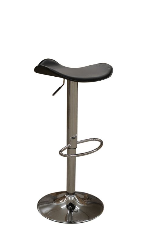 Saturn Black Faux Leather Bar Stool