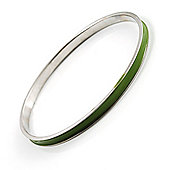 Green Thin Enamel Metal Bangle