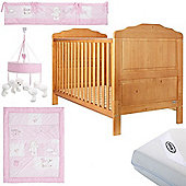 OBaby Beverley Cot Bed Pink Bundle (Country Pine)