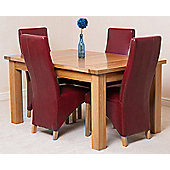 Seattle Solid Oak Extending 150 - 210 cm Dining Table with 4 Burgundy Lola Leather Chairs