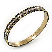 Burn Gold Diamante Bangle Bracelet - up to 18cm Length