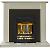 Adam Sutton Fireplace Suite in Cream with Helios Electric Fire in Black