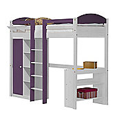 Maximus High Sleeper Set 1 Central Ladder White With Lilac Details