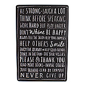 Be Strong Chalkboard Style Metal Wall Sign