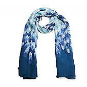 Tonal Blue Feather Print Long Scarf