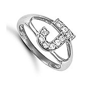 Silver Cubic Zirconia Identity ID Initial Signet Ring Letter J