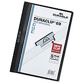 Durable Duraclip Folder PVC Clear Front 6mm Spine for 60 Sheets [Pack 25]