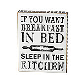 Parlane Hanging 'Breakfast in Bed' Wall Art / Sign - 20 x16cm