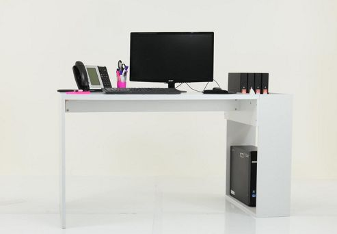 Buy harper home office computer desk white from our workstations pc trolleys range tesco - Tesco office desk ...