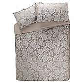 Tesco Jacquard Damask Duvet Set Mocha, Kingsize