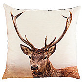 Tesco Photographic Stag Cushion, Brown