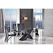 Valencia Glass & Black Oak 160 cm Dining Table & 6 Alisa Brown Chairs