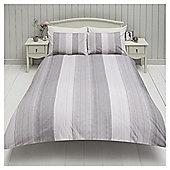 Washy Stripe Double Duvet Set, - Grey