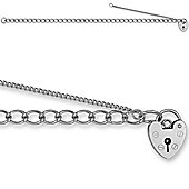 Jewelco London Sterling Silver Traditional British Made Ladies - charm - Bracelet - 4mm Guage