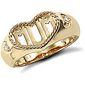 9ct Solid Gold Mum Ring in rope edged heart with CZ set shoulders