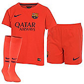 2014-2015 Barcelona Away Nike Little Boys Mini Kit - Orange