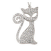Jewelco London Rhodium Plated Sterling Silver CZ Cat Cluster Pendant