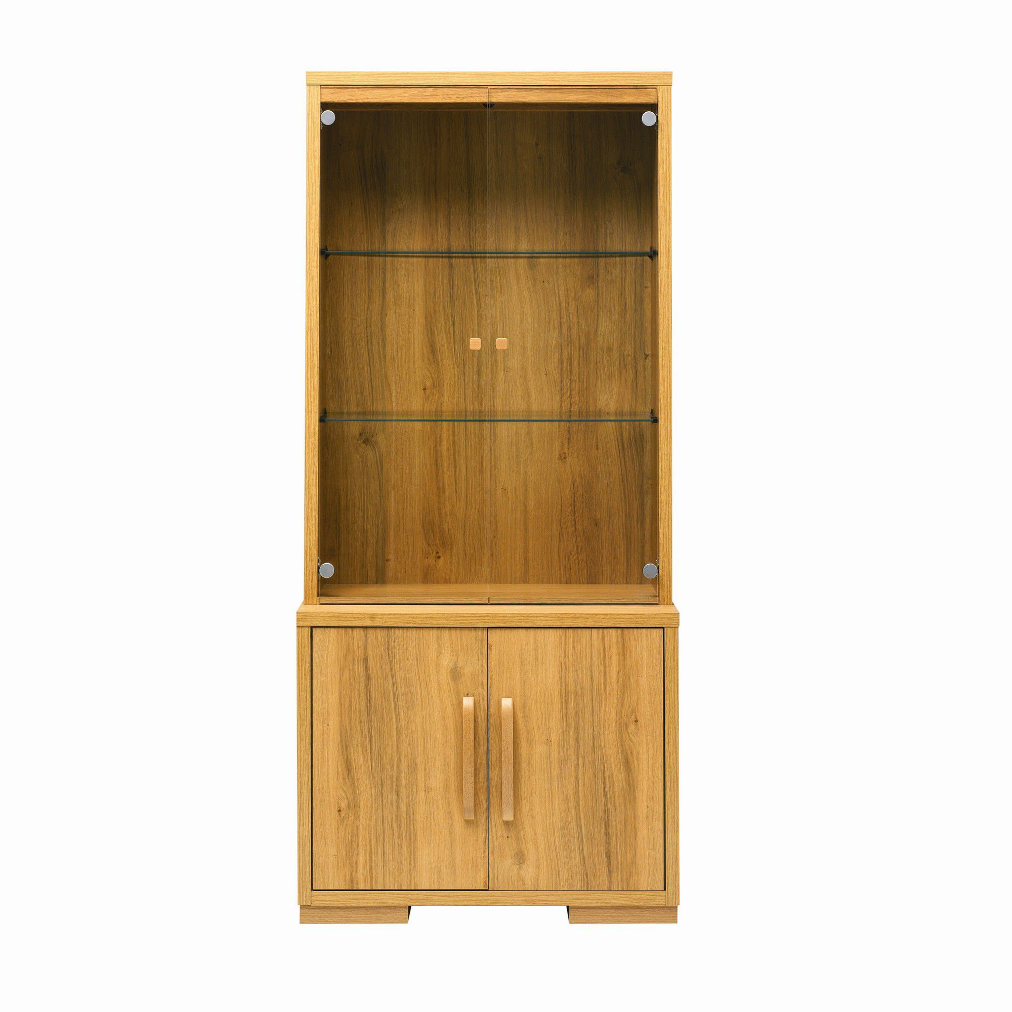 Caxton Strand Two Glazed Door Display Cabinet in Oak at Tesco Direct