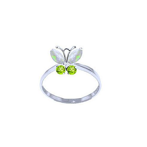 QP Jewellers Peridot & Opal Butterfly Ring in 14K White Gold - Size A